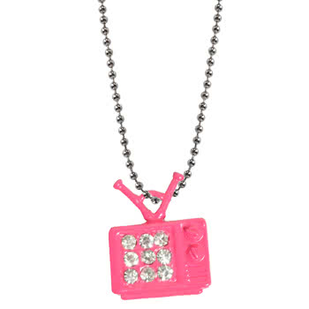 Blue Banana Pink TV With Crystal Style Necklace