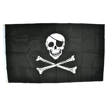 Blue Banana Skull & Bones 5x3 Flag (Black)