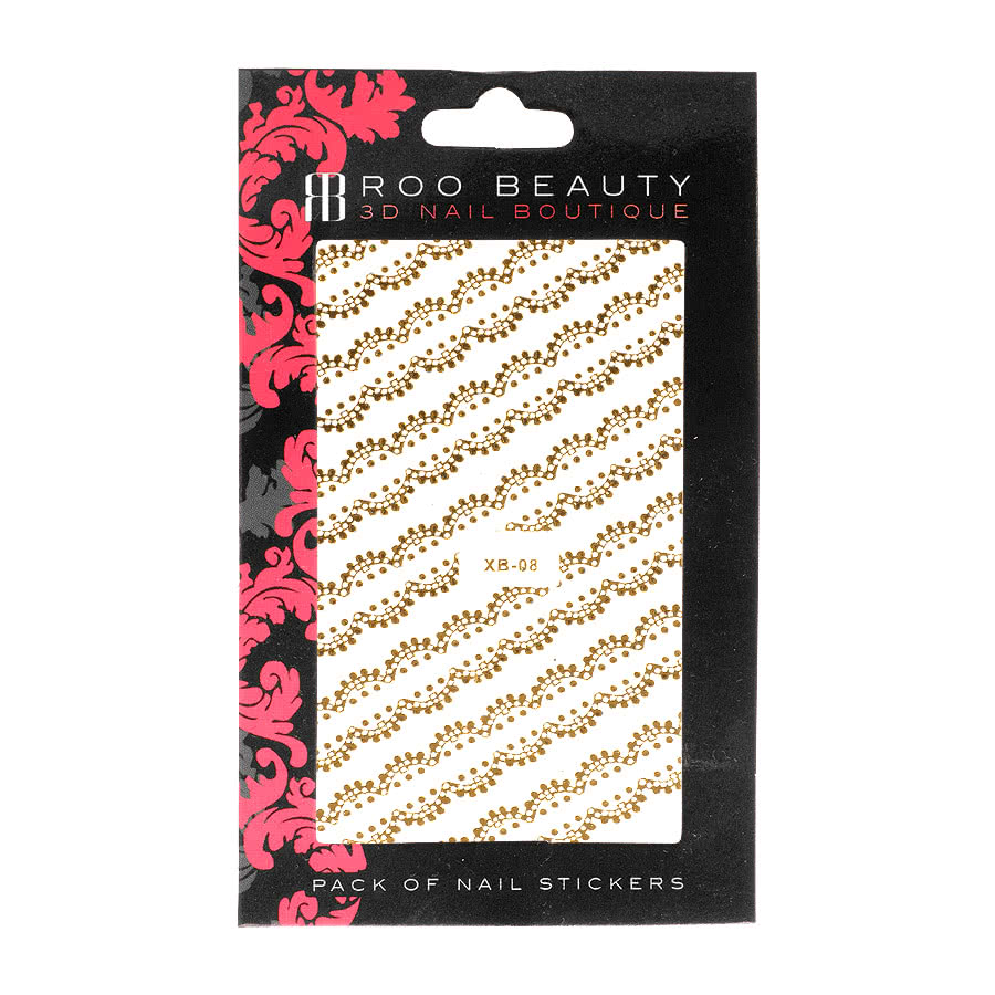 Nail Art Sheets XB-08 Scollop Lace Strip (Gold)