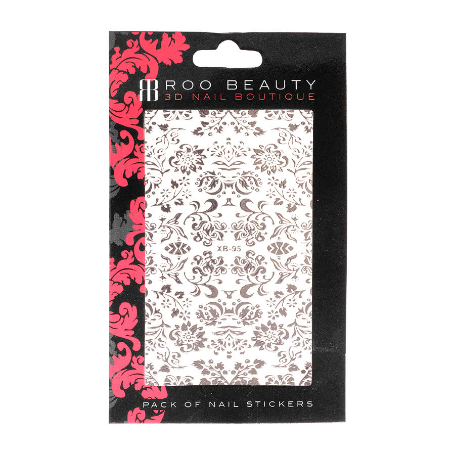 Nail Art Sheets XB-95 Flower / Leaf (Silver)