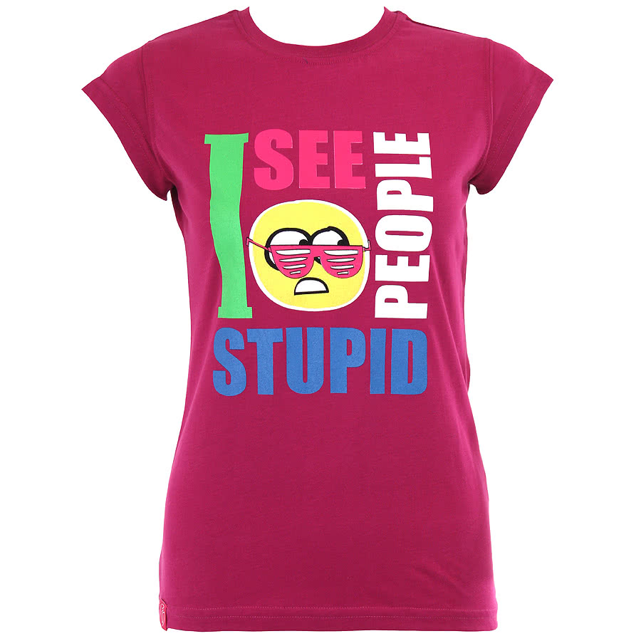 Flip Flop And Fangs Stupid People Glasses Skinny Fit T Shirt (Purple)