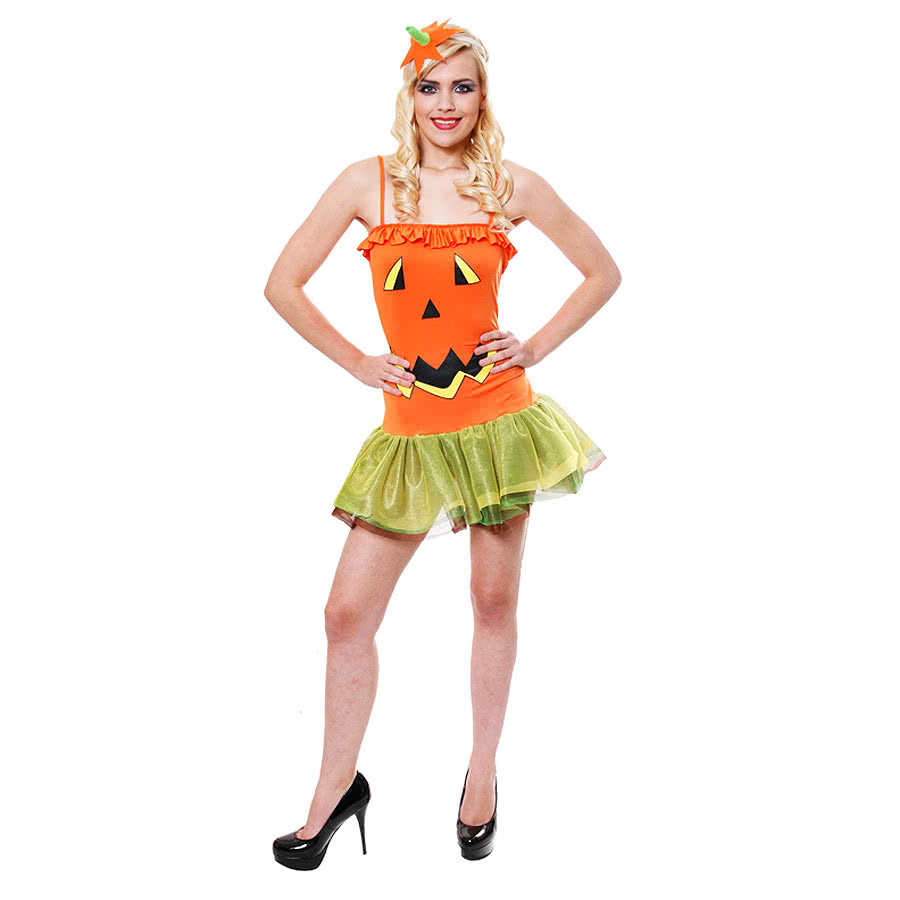 Halloween Female Pumpkin Fancy Dress Costume (Orange)