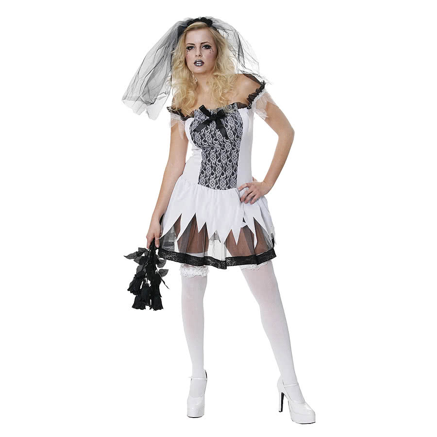 Halloween Sexy Bride Fancy Dress Costume (White)