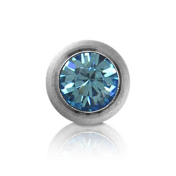 Polished Titanium Jewelled 5mm Ball (Aqua)