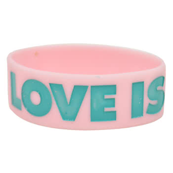 Rokk Bands Love Is Wristband (Pink)