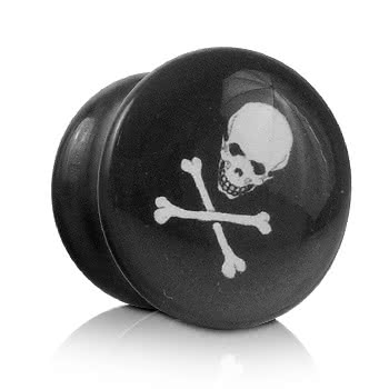Ikon Skull and Bones Plug (Black/White)