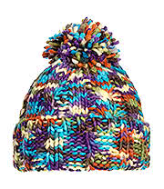 Blue Banana Knitted Pom Pom Hat (Purple)