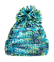 Blue Banana Knitted Pom Pom Hat (Green/Blue)