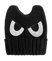 Blue Banana Eyes Knitted Hat (Black)