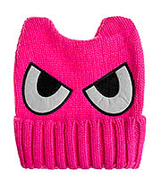Blue Banana Eyes Knitted Hat (Pink)