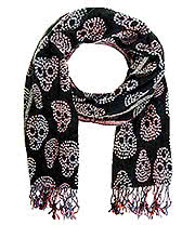Blue Banana Skull Weave Scarf (Black/White)