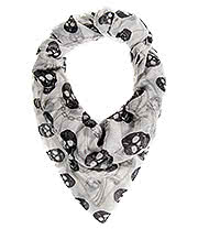 Blue Banana Black Skulls Scarf (White)