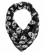 Blue Banana White Skulls Scarf (Black)