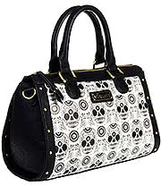 Loungefly Sugar Skull Duffle Handbag (Black/White)