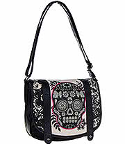 Loungefly Lace Flower Skull Cross Body Bag (Black/Pink)