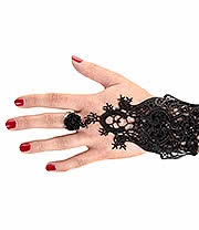 Blue Banana Long Lace Rose Ring Panja (Black)