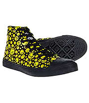 Bleeding Heart Canvas Smiley Hi Tops (Black/Yellow)
