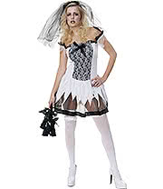 Sexy Zombie Bride Fancy Dress Costume (Black/White)