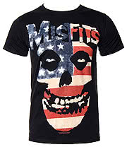 Misfits USA Skull T Shirt (Black)