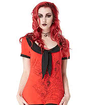 Jawbreaker Creepy Seahorse Top (Red/Black)