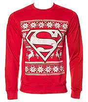 DC Comics Superman Fair Isle Jumper (Red)