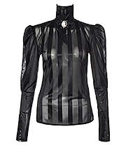 Golden Steampunk Fanny Stripe Cameo Blouse (Black)