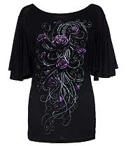 Spiral Direct Entwined Roses Top (Black)