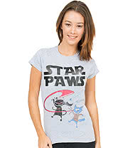 Flip Flop & Fangs Star Paws Athletic Skinny T Shirt (Grey)