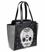 Loungefly Striped Tote Bag (Black/White/Gold)