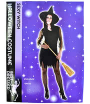 Halloween Sexy Witch Fancy Dress Costume (Black)