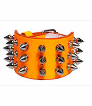 Blue Banana 3 Row Small Spikes Studded Wristband (Orange)