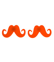 Blue Banana Moustache Earrings (Orange)