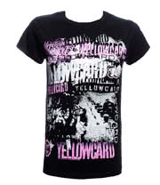Yellowcard Collage Skinny T Shirt (Black)