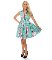 Voodoo Vixen Floral Dress (Mint Green)