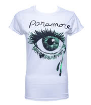 Paramore Crying Eye Skinny T Shirt (White)