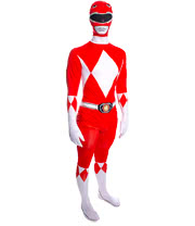 Rubies 2nd Skin Power Rangers Jumpsuit (Red/White)