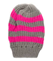 Blue Banana Stripe Beanie (Grey/Neon Pink)