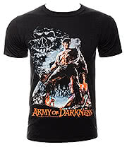 Army of Darkness Smoking Chainsaw T Shirt (Black)