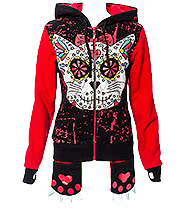 Banned Kitty Skull Hoodie (Black/Red)