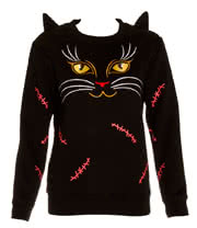 Banned Cats Eyes Crew Neck Jumper (Black)