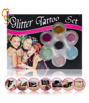 Glitter Body Art Glitter Tattoo Set (Multi-Coloured)