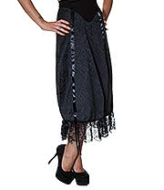 Golden Steampunk Long Victorian Rouched Skirt (Black)