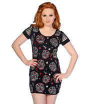Banned Multi Skull Vest Dress (Black)