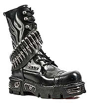 New Rock Boots Bullets & Flames Mid Boots M.297-S1 (Black)