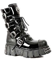 New Rock Boots Patent Mid Boots M.313-S1 (Black)