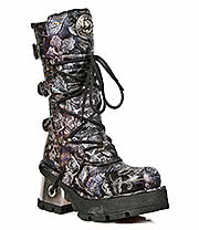 New Rock Boots Lilac Flowers Mid Vintage Boots M.373-S24 (Black)
