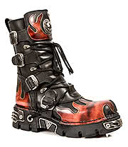 New Rock Boots Orange Flame Boots M.591-S1 (Black)