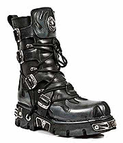 New Rock Boots Pewter Flames Boots M.591-S2 (Black)