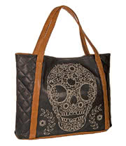 Loungefly Skull Tote Bag (Black/Tan)
