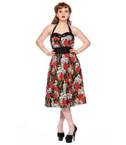Banned Halterneck Skull Roses Dress (Black)